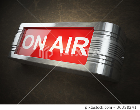 On air red glowing warning signboard.  36358241