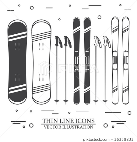 Set of skiing equipment silhouette icons. 36358833