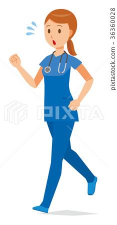 A female nurse in a blue scrub is running 36360028