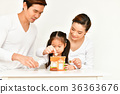Parents are teaching children to save money. 36363676