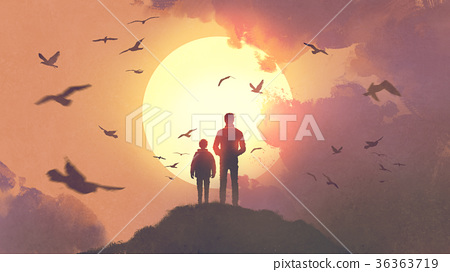father and son looking at the sunrise 36363719