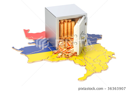 Safe box with golden coins on the map of Colombia 36363907
