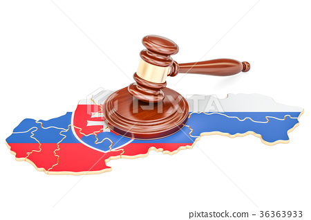 Wooden Gavel on map of Slovakia, 3D rendering 36363933