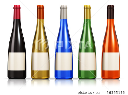 Set of color glass wine bottles 36365156