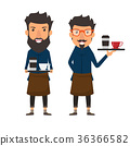 Hipster style. Barista holding a coffee 36366582