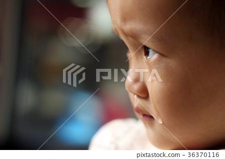 一位亞洲女孩在車上悲傷哭泣 36370116