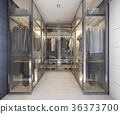modern luxury glass walk in closet with blue decor 36373700