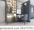 white walk in closet with blue decor near bedroom 36373701