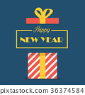 Happy new year with gift box 36374584