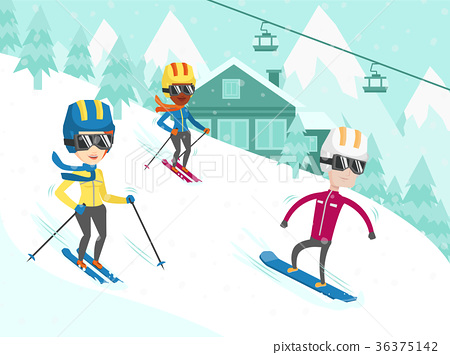 Multicultural people skiing and snowboarding. 36375142