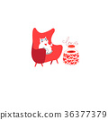 Vector cheerful picture with a thick white cat 36377379