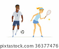 Tennis and football players - cartoon people 36377476