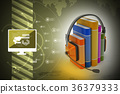 audio book concept with headphones and books 36379333