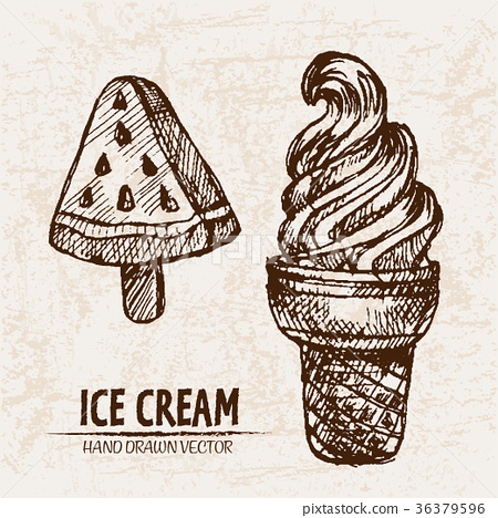 Digital vector detailed line art ice cream 36379596