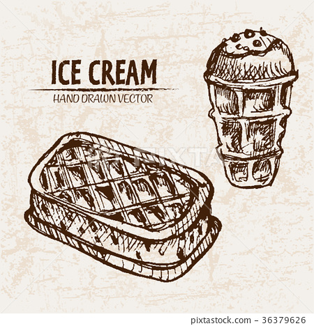 Digital vector detailed line art ice cream 36379626