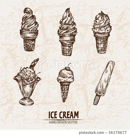 Digital vector detailed line art ice cream 36379677