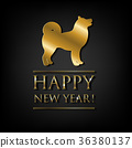 New Year Card With Golden Dog 36380137