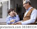 祖父,孫子,在一起,幸福 36380334