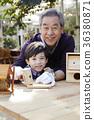 할아버지,손자,새집,만들기 36380871