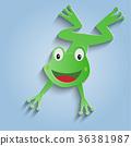 Frog Paper cut art, vector illustration 36381987