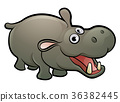 hippo, cartoon, animal 36382445