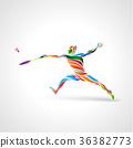 羽毛球 多彩的 剪影 36382773