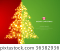 Christmas tree lighting on green red background 36382936