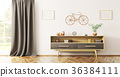 Interior of living room with wooden sideboard 3d  36384111