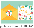 Tropical invitation card with bright birds 36385445