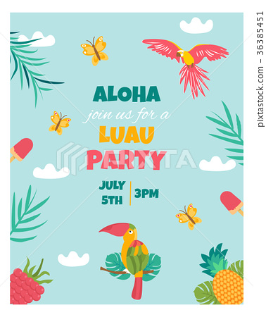 Invitation card with tropical elements, birds 36385451