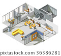 isometric, bank, office 36386281