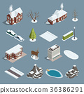 Winter Landscape Constructor Isometric Set  36386291