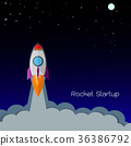 Flat rocket icon. Startup concept of business . 36386792