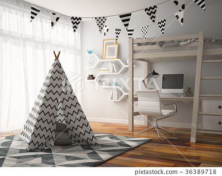 part of Interior with wigwam 3D rendering 36389718