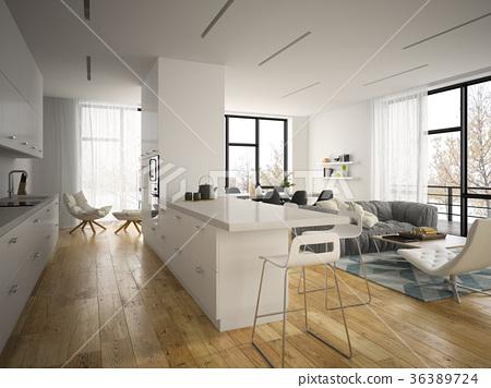 Interior modern design room 3D illustration 36389724