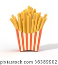 Fast food french fries in a container 36389902