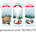 Merry Christmas Background with branches of tree 36390270