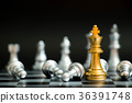 Gold king in chess game face with the silver team 36391748