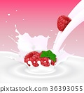 raspberry, milk, splash 36393055