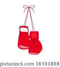 Hanging boxing gloves. 36393898