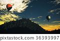 Hot Air Balloons Lush Natural Wilderness Jungle 36393997
