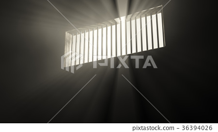 Lightrays Shine through Rails in Demolished Cell 36394026