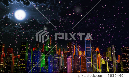 Modern City Lit by Colorful Light Effects at Night 36394494