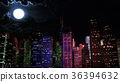 Modern City Lit by Colorful Light Effects at Night 36394632