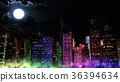 Modern City Lit by Colorful Light Effects at Night 36394634