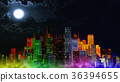 Modern City Lit by Colorful Light Effects at Night 36394655