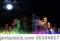 Modern City Lit by Colorful Light Effects at Night 36394657
