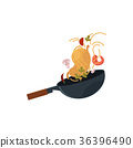 vector flat asian wok with flying ingredients 36396490