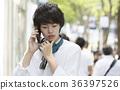 스마트 폰에서 말하는 남성 어두운 표정 도쿄 하라주쿠 진구 마에 교차로 전 36397526