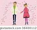 櫻花圖像。春天的背景。櫻花暴風雪。日曆。季節。春天。 36400112